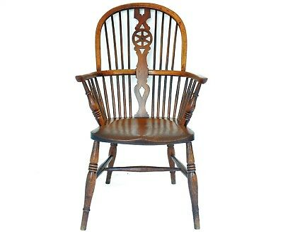19th Century Antique Wheel Back Windsor Yew & Elm Armchair