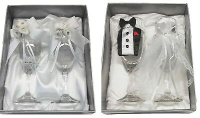 Set of 2 Mr & Mrs Bride and Groom or Roses Wedding Champagne Flute Wine Glasses