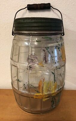 Vintage Gallon Clear Glass Pickle Barrel Jar w/ Metal Lid Wire Bail Wood Handle