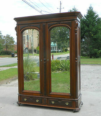 Walnut Renaissance Two Door Mirrored Wardrobe Armiore