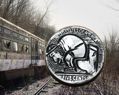 Does A Hobo Poop In The Woods Original Hobo Nickel Hand Carved Coin Art