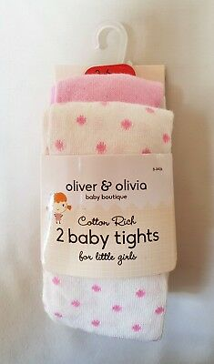 Olivier & Olivia Baby 2 Pairs Tights For Little Girls 0-3, 3-6, 12-18 Months