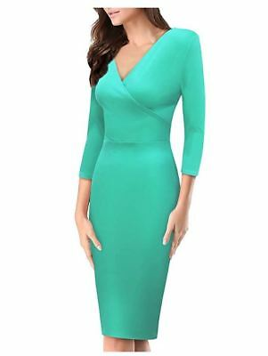 NEW Womens Plum Cross V Neck Midi Dress KDR44322 Premium 4 Way Stretch Mint SM