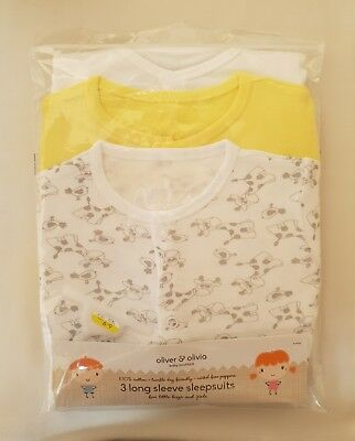 Olivier & Olivia Baby Boutique 3 Long Sleeve Sleepsuits 100% Cotton 6-9 Months