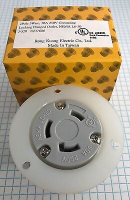 Nema L6-30 Flanged Outlet, 2 Pole, 3 Wire, 30A, 250V Grounding Locking Outlet