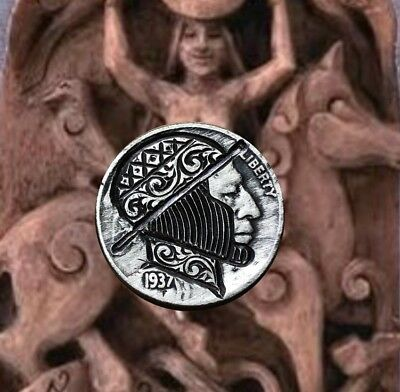 1937 The Candy Man Scroll Original Hobo Nickel Hand Carved Coin Art