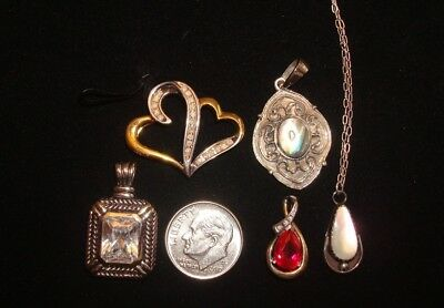 lot of 5 925 Necklace & Pendants 10K Diamond Mother of Pearl Ruby.