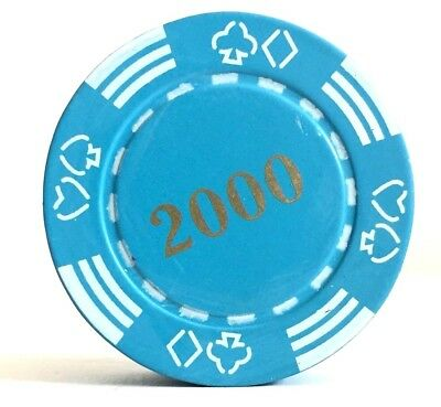 Refillable 2000 Poker Chip Butane Cigarette Lighter - Blue