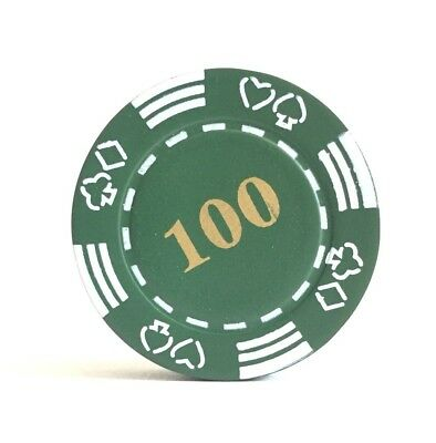 Refillable 100 Poker Chip Butane Cigarette Lighter - Green