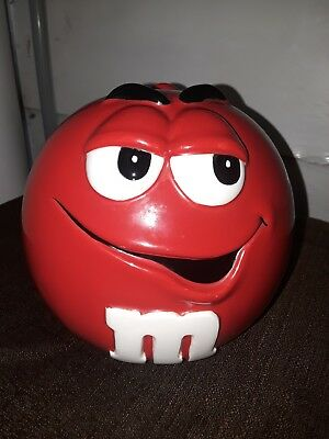 RED M&M Candy / Cookie Jar + Lid Galerie Au Chocolat 2001 - Good Condition