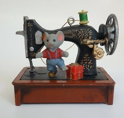 Vintage MUSICAL CHRISTMAS TREE ORNAMENT Sewing Machine Plays MY FAVORITE THINGS