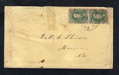 C.s.a.  U.s. A Pair Of Attached U.s. Scott #1 Confederate States Stamps On Cover