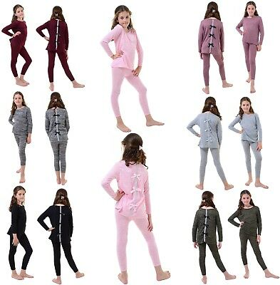 Kids Girls Diamante Bow Back Top & Leggings Set Marl Knit Tracksuit Loungewear