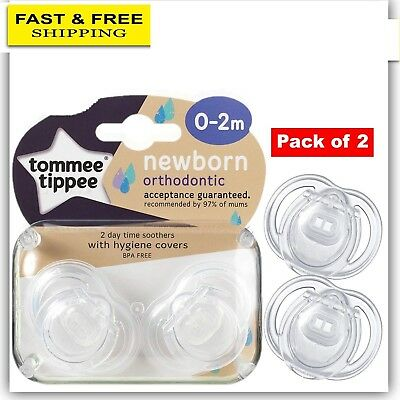 Tommee Tippee Closer to Nature Newborn Soother 0-2m 2P Dummy With Hygiene Cover