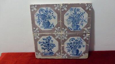 Plaque panel 4 antique tiles Delft Lille. XVIIIth. Flowers.Fliesen. Carreaux..A