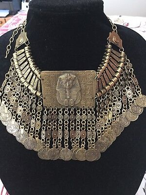 Gorgeous Amazing Egyptian Pharaonic King Tut  Heavy Brass Coins Choker Necklace