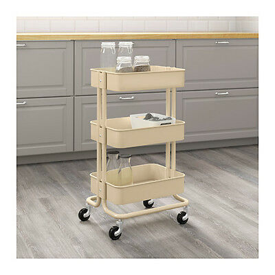 New Ikea Raskog Home Kitchen Bedroom Storage Steel Utility Cart Beige