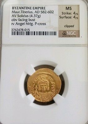 Byzantine Empire Maurice Tiberius NGC MS 4/4 Ancient Gold Coin