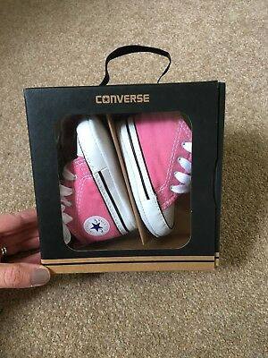 Baby Girls Pink converse Trainers/ Pram Shoes, Size 1 -NEW