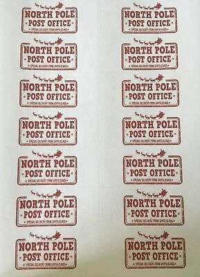 14 x North Pole Post Office Stickers - Special Delivery from Santa Claus!