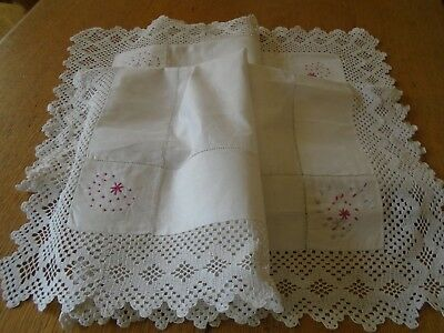 Vintage Hand Embroidered  Irish Linen Tablecloth - Hand Crochet Lace Border