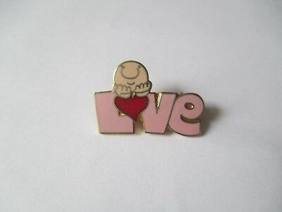 Collectible Vintage Ziggy Cartoon Pink Gold Tone LOVE Small Pin