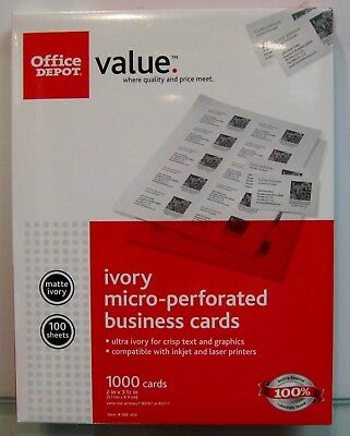 Office Depot Ivory Business Cards, 100 sheets/1,000 Cards, Item #388-309