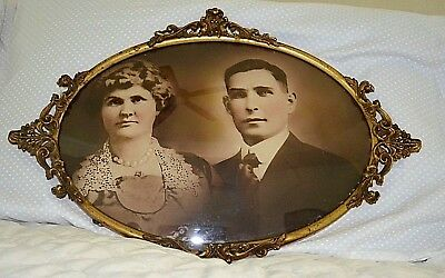 ANTIQUE VICTORIAN  ORNATE METAL FRAME CURVED CONVEX GLASS  Nice SEPIA PHOTO