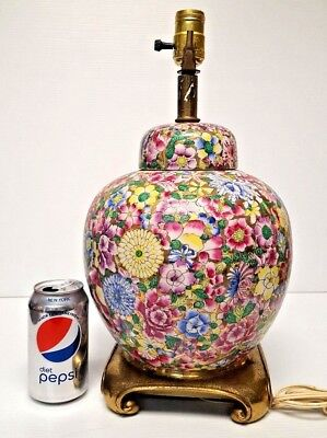 Vintage CHINTZ Porcelain GINGER JAR TABLE LAMP Cloisonne Enamel SHABBY CHIC Rare