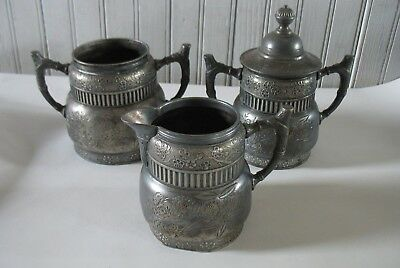 3 pcs Acme Silver Plate Co. Quadruple Plate Creamer Sugar bowl w lid & Spooner