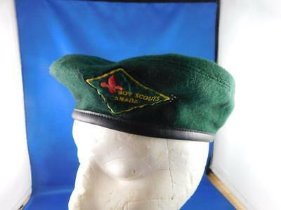 Scouts Canada Uniform Hat Beret Green Black Leather Crest Patch Logo Size Small