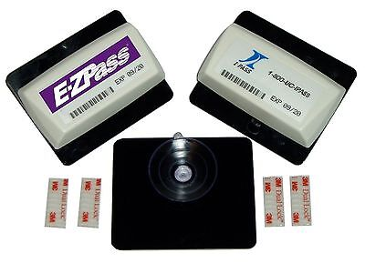 GET 2 EZ Pass Holders and 4 dual lock mounting Strips EZ and I Pass Suct... New