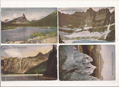 Lot: 4 postcards scenes of Glacier National Park for Great Northern Railroad