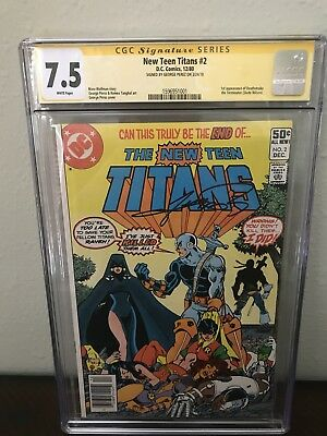 NEW TEEN TITANS #2 (1980) CGC 7.5 Signed By Perez 1st App. Deathstroke NEWSSTAND