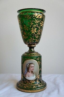 Beautiful 19th Century French Overlay Green Glass Vase