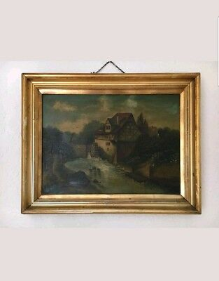 VERY LARGE ANTIQUE 19th CENTURY~Oil On Canvas PAINTING In GOLD FRAME~