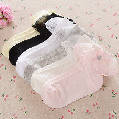 Girl Baby Toddler Kids Heart Gem Lace Ankle School Socks 6 months - 8 years