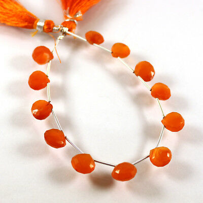 """VG-223 Natural Carnelian Gemstone Faceted Heart Beads 10x11mm 8.5"""" Long Strand"""