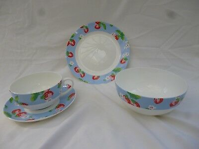 """Cath Kidston """"strawberry"""" Queens Fine Bone China  8"""" Plate+6"""" Bowl+Cup & Saucer"""