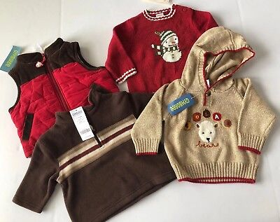 NWT Gymboree Boys Lot 6 12 Months 4pc Vest Fleece Pullover Sweaters Adorable!