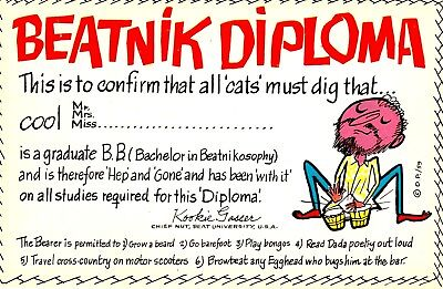 "VINTAGE Comic "" BEANIK DIPLOMA~This Is To Confirm All CATS' Must DIG That..."" PC"