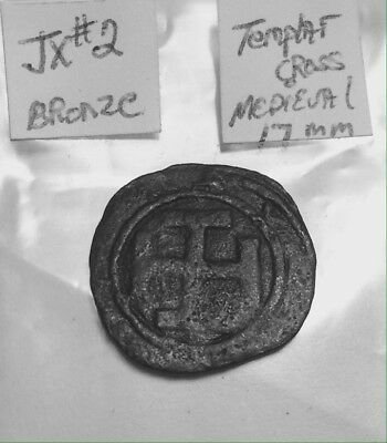 Medieval Bronze Crusader 17mm Thick 16th Century With A Unique Cross &Monogram