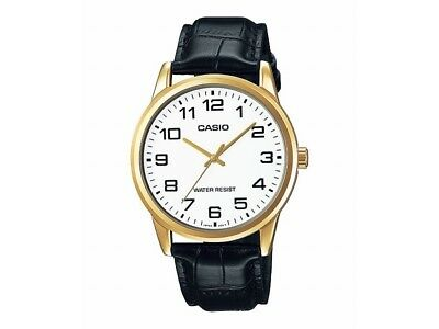 Casio MTP-V001GL-7B Men's Gold Tone Leather Band Easy Reader WHITE Dial Watch WT