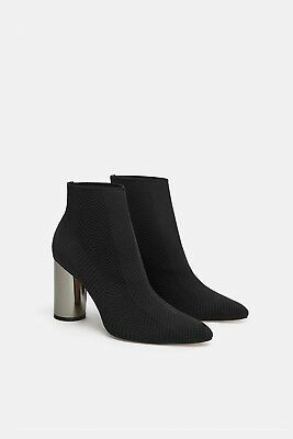 88801fc2f737c ZARA NEW AW18 Fabric Ankle Boots With Metallic High Heels Black Ref.  5101/301