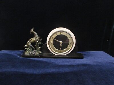 French Art Deco Marble Spelter Bronze Leaping Deer Statue Clock