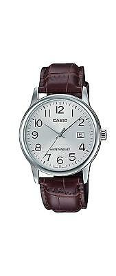 Casio MTP-V002L-7B2 Men's Analog Watch Brown Leather Band SILVER Date Display WT