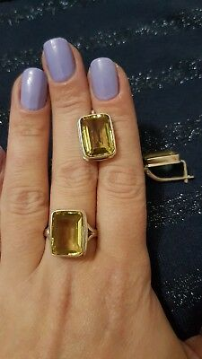 925 Silver And Natural Citrine Earrings And Ring Set. Ring Size R.