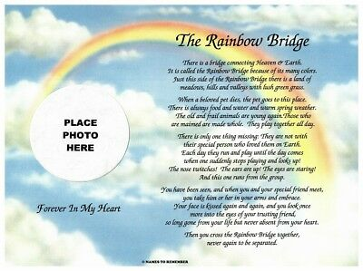 In Memory of Pet Rainbow Bridge Memorial Poem Sentimental Gift for Loss of Dog