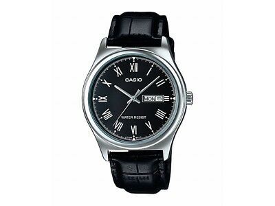 NEW Casio MTPV006L-1B Men's Analog SILVER-tone Watch BLACK Leather Band Day/Date