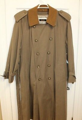 Brooks Brothers Mens Overcoat Sz 44 L Brown Lined Raincoat Trench Warm Jacket